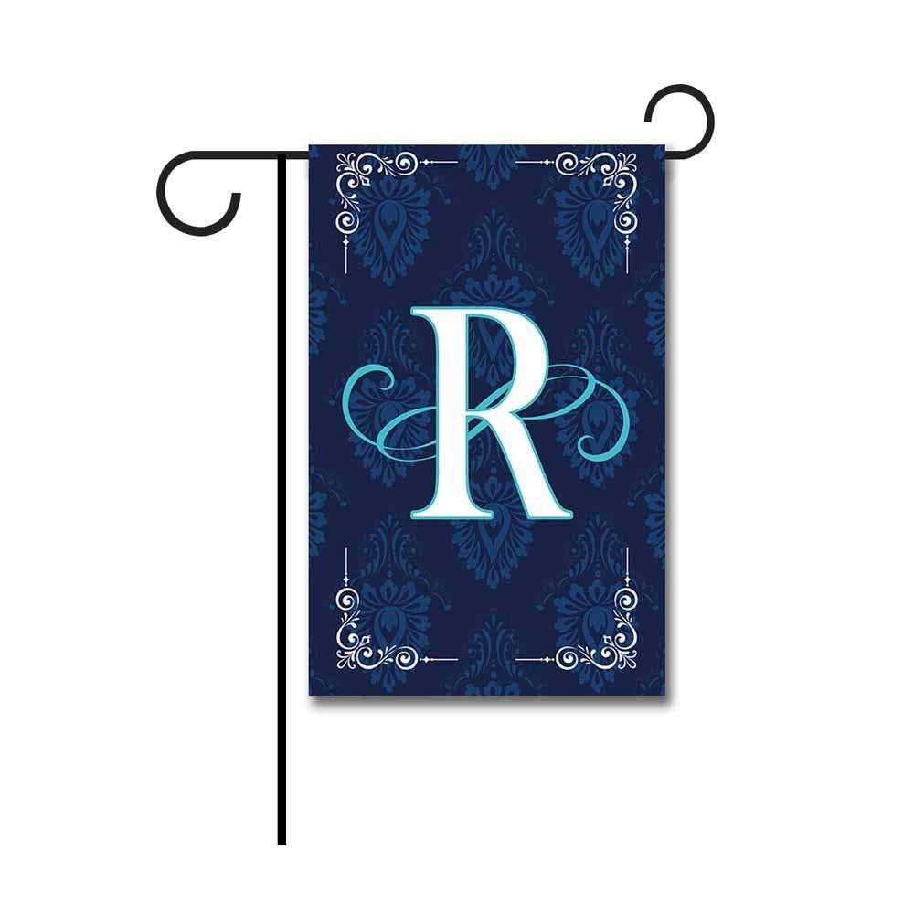 """Kafepross Blue Flowers Garden Flag Monogram """"R"""" 12.5""""x18"""" Print Both Sides"""