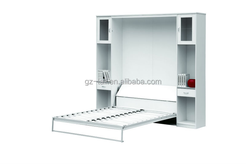 wholesale custom wooden pull down wall bed with bookcases