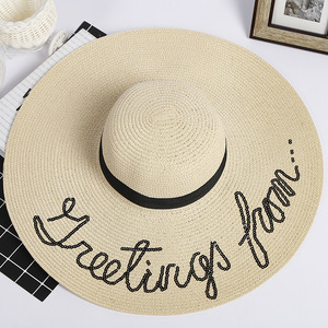 High quality woman beach wide brim beach hat foldable cap
