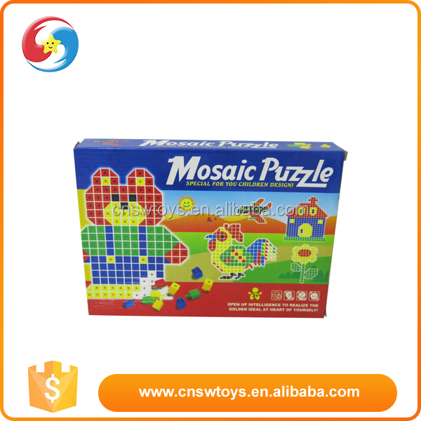 Children educational diy gift cartoon plastic mosaic 3d puzzle toy