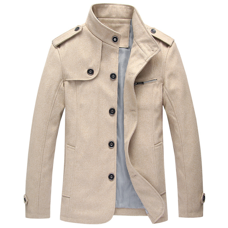 2015 Autumn And Winter New Men's Coat Casual Fashion Slim Stand Collar Youth Overcoat Tide Plus Size Hot Sale Manteau Homme 591