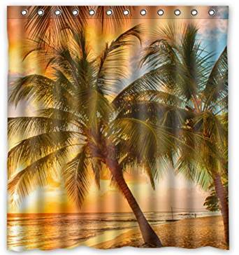 "Unique Custom Hawaii Summer Beach Palm Tree Sunset Scenery Waterproof fabric Polyester Shower Curtain 66""X72""-Bathroom Decor"