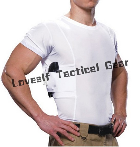 Men comfortable tactical T- shirts with gun holster breathable durable casual T-shirt