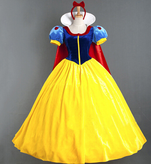 Sexy Adult Princess Long Dress Halloween Cosplay Snow White Costume