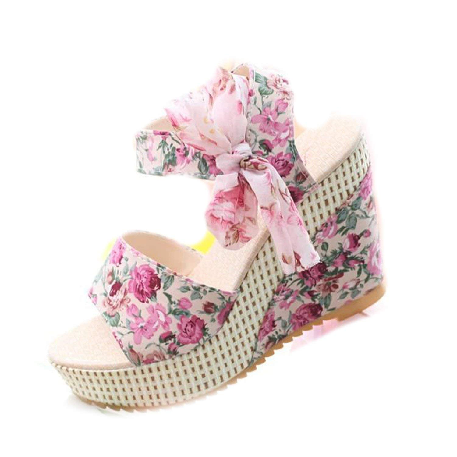 Collocation-Online Summer high-Heeled Muffin Thick-Bottom Wedge Sandals Female Fish Mouth Bow Female Sandals