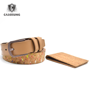 Business promotional Eco-friendly cork leather belt and wallet gift set for men