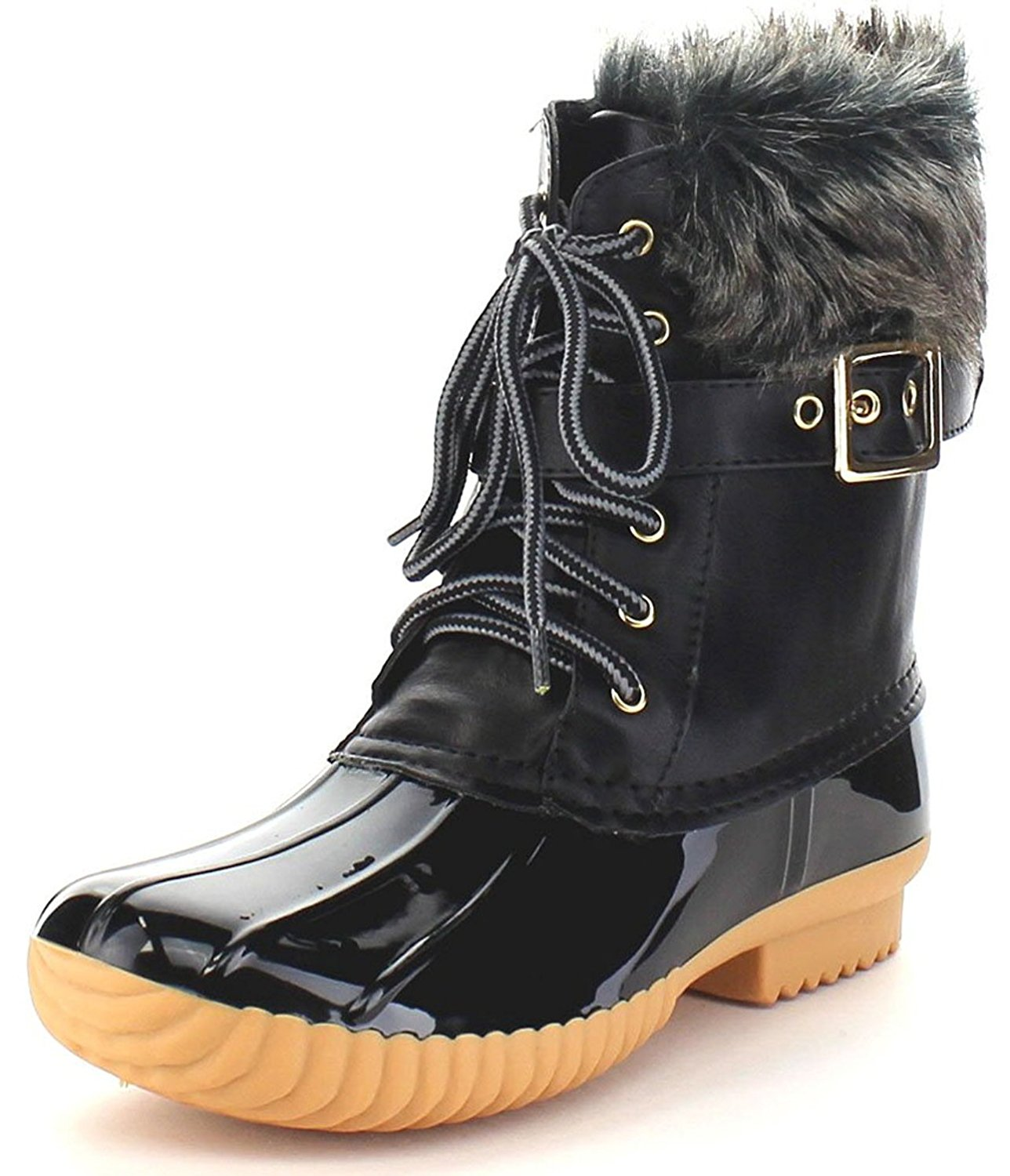 4c998885af4e Get Quotations · Nature Breeze Duck-01 Women s Chic Lace up Buckled Duck  Waterproof Snow Boots