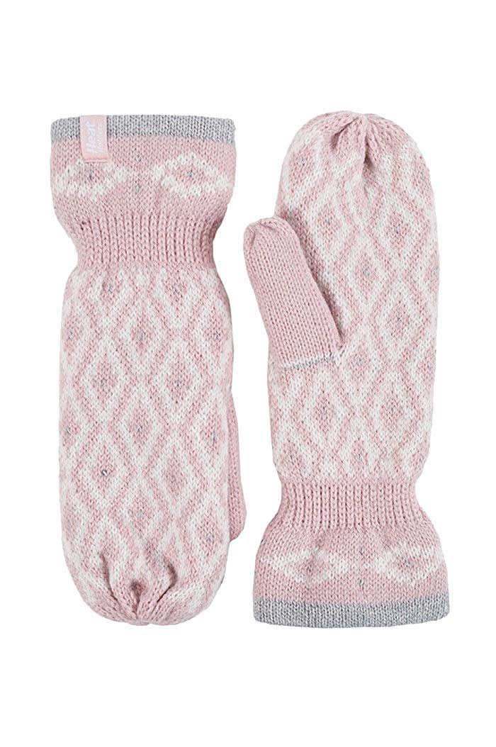 Heat Holders - Womens Warm Fleece Lined Thermal Cold Weather Knit Winter Mittens (One Size, Coral)