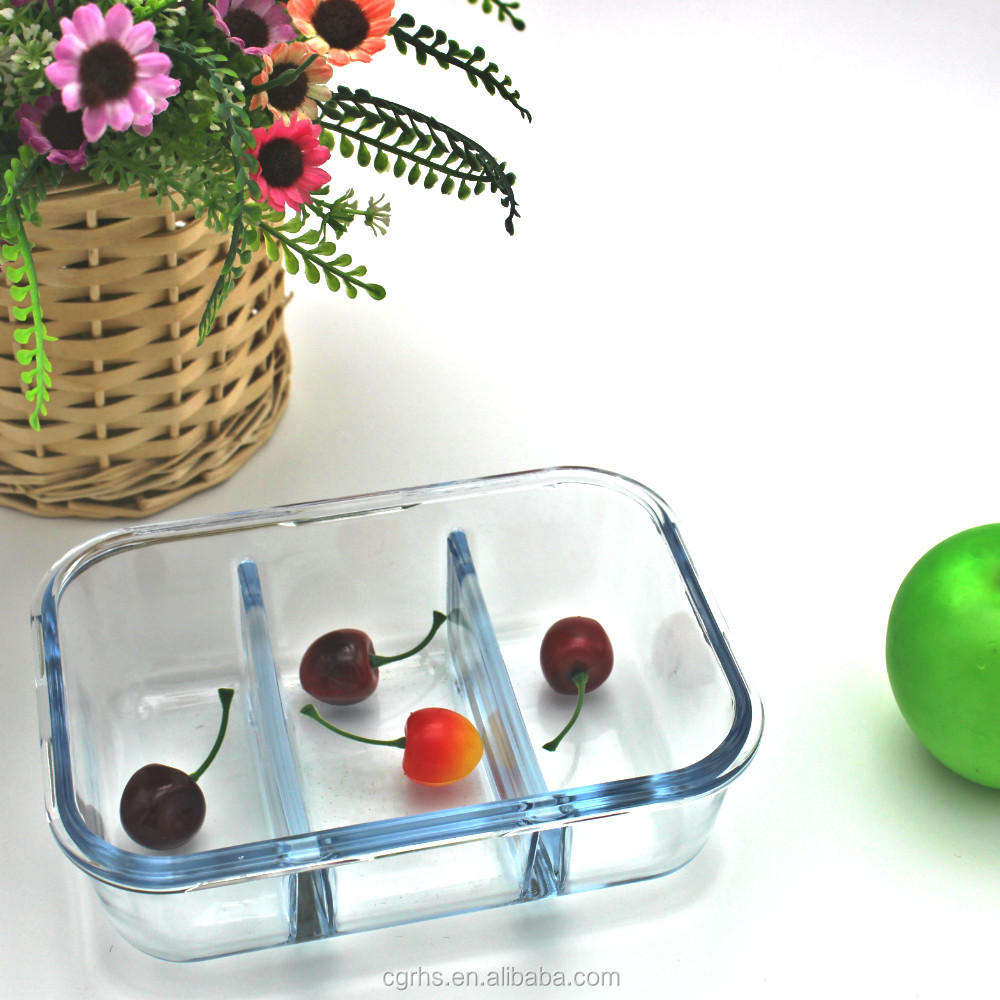 2017 NEW glass meal prep containers 3 compartment glass food containers with Lids