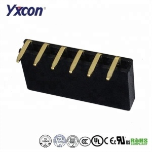 2.54mm pitch high quality Y type bend 1*6pin gold plated female header connector ROHS certificated