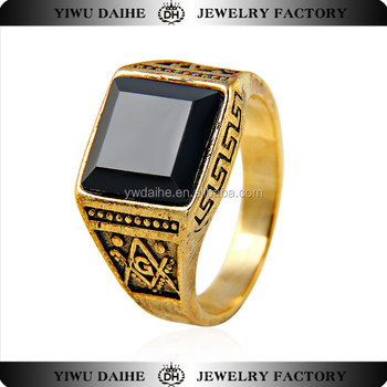 Whoesale fashion stainless steel with black square big stone ring for men