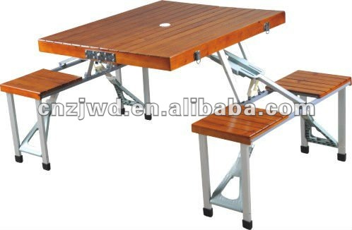 Plegable portable madera mesa de camping con 4 asientos for Mesa plegable de aluminio para camping