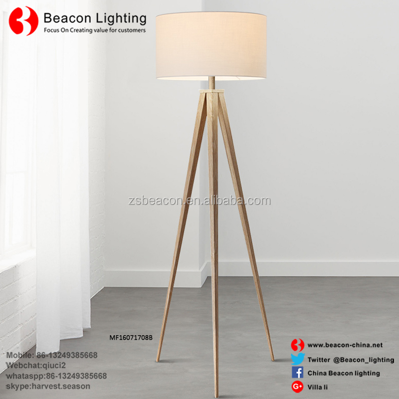 Zhongshan factory directly sale best price good quality wooden body fabric shades modern tripod floor lamp MF16071708B
