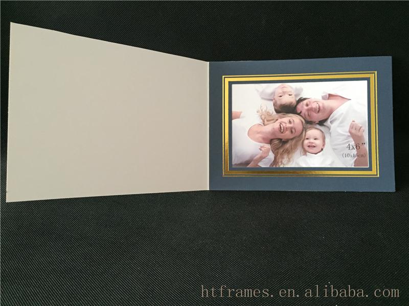 4x6 Dark Blue Handmade Paper Folders With Gold Linephoto Frame
