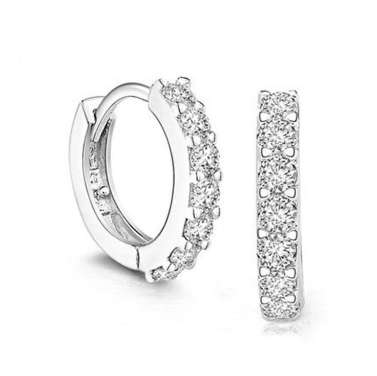 Rắn 925 Sterling Silver Bạc Trắng Lát Đá Pha Lê Hoop Earrings Đối Với Phụ Nữ Đồ Trang Sức