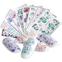 6D engraving flower engraving flower acrylic glitter nail embossed flower water pattern sticker DIY nail tool