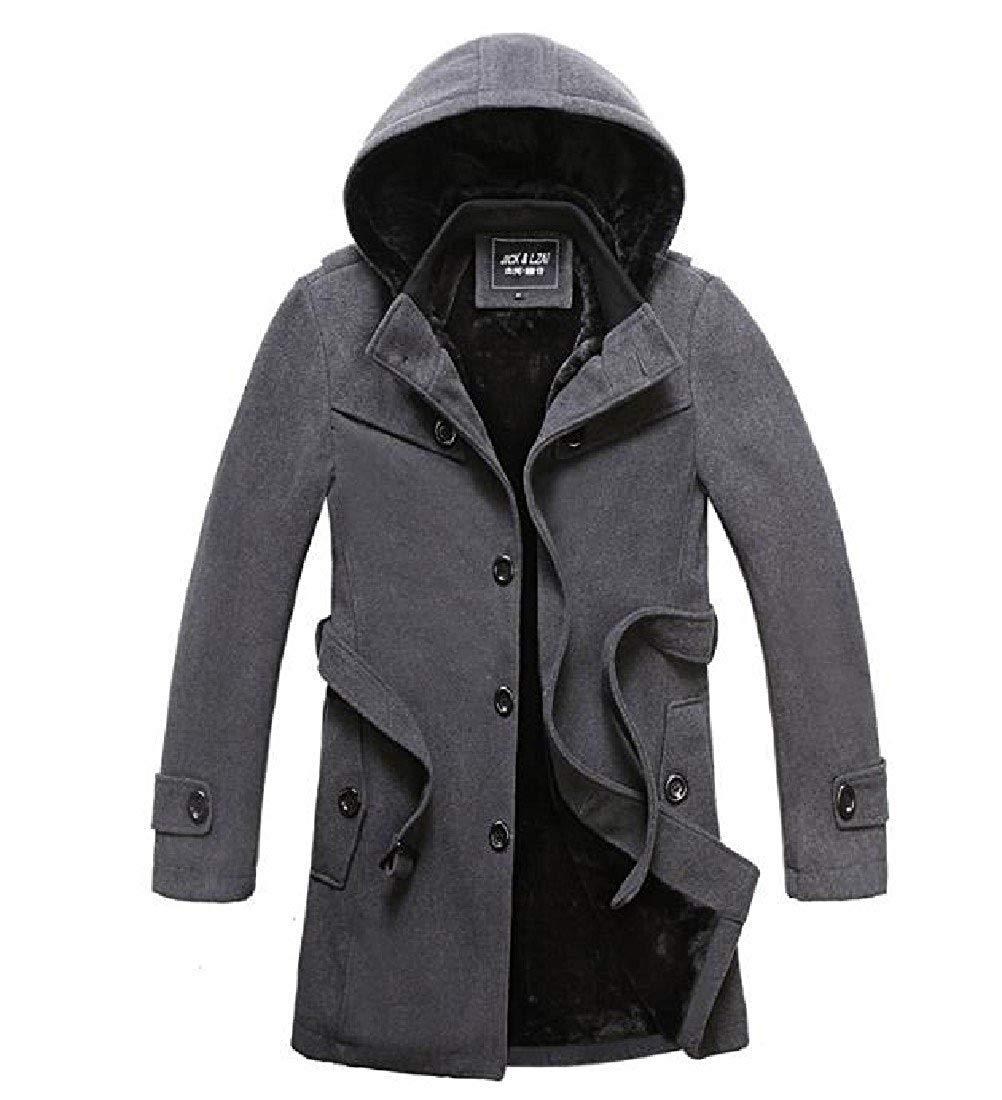 f2c006bb4257a Get Quotations · SportsX Men Wool-Blend Warm Plus Size Plus Velvet Maxi  Duffle Coat