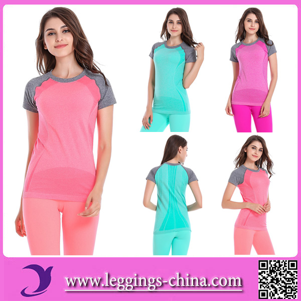 2016 WA12 Wholesale Yoga Wear Fitness Breathable Ladies Yoga T-Shirts