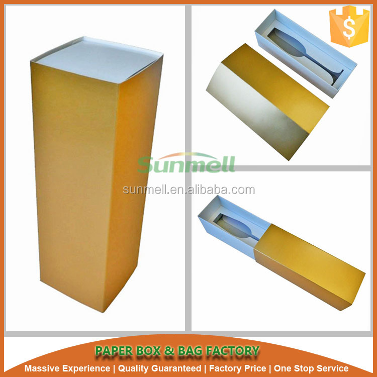 wholesale cheap golden color slender wine glass packing box board paper