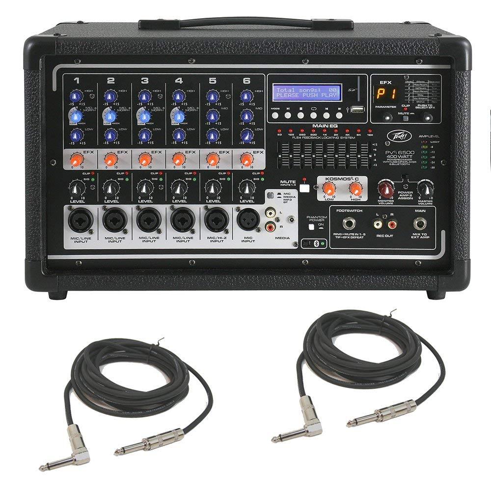 Peavey PVi 6500 Pro Audio DJ 6 Channel Powered 400W PA Speaker Mixer & Cables