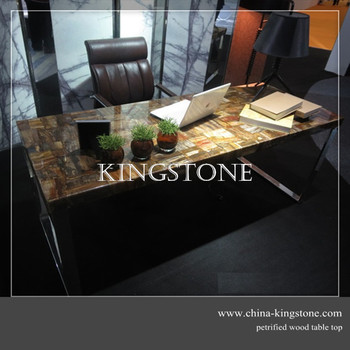 luxury stone furniture natural brown petrified wood table top