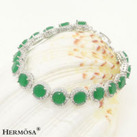 Fashion Round Green Emerald Women Magnetic From Party Gift Jewelry 925 Sterling Silver magnetic Bracelets 7