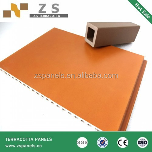 Building construction material ventilated facade clay tiles, terracotta wall covering panels