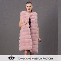 Wholesale ladies long waistcoat winter soft thick warm natural fox fur coat