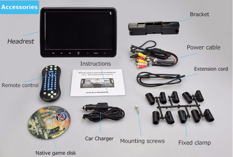 Auto Electronics 10.1''removable car monitor headrest dvd players with sony loader