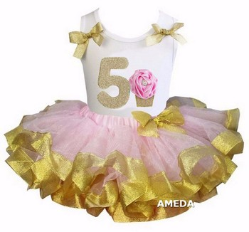 Girls Light Pink Gold Satin Trimmed Tutu with 5th Rosette Cupcake White Tank Top