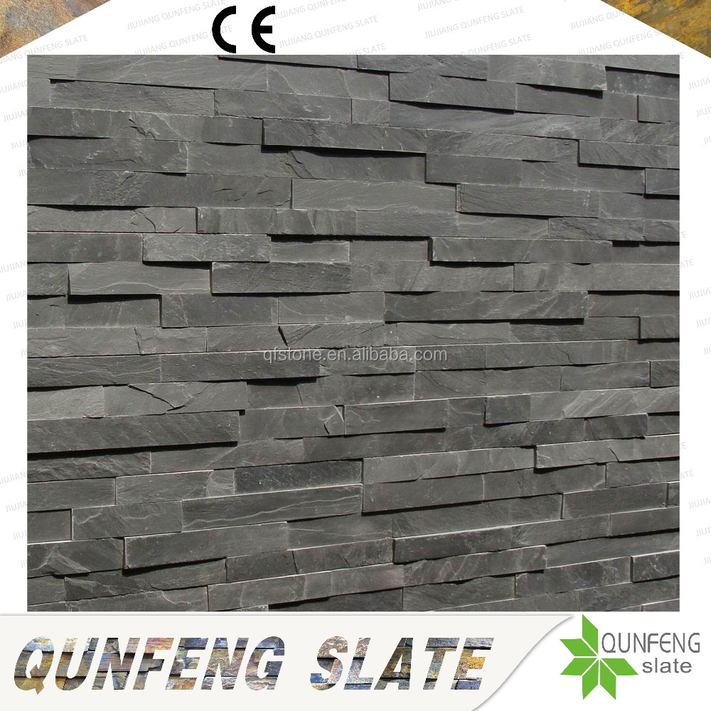 CE Passed Z Cladding Antacid Natural Stone Cladding Black Slate Wall Brick