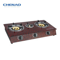Tempered glass stove kitchen appliance/3 cast iron burner gas rangs