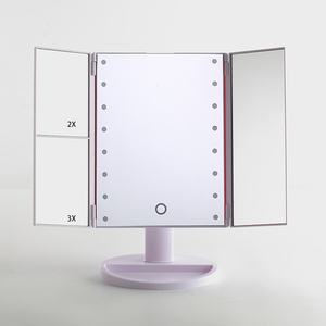 Lighted Makeup Mirror, Touch Screen LED Table Makeup Mirror -Three Panel 16/24/36 pcs Led Light Tabletop Cosmetic Mirror