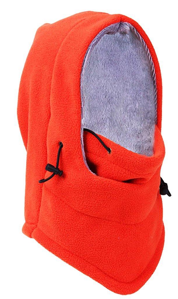 Bigood(TM) Thick Wool Outdoor Hooded Hat Windproof Cap Headcover Scarf Orange
