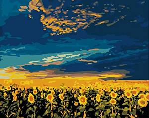 E-onelife Diy Oil Painting, Paint By Number Kits For Children, Sunflowers Vast Diy Digital Oil Painting Without Wooden Frame