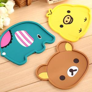 EN71-3 Passed Custom Lovely Animal Shape Plate Mat, PVC Rubber Cup Mat Coasters for Kids