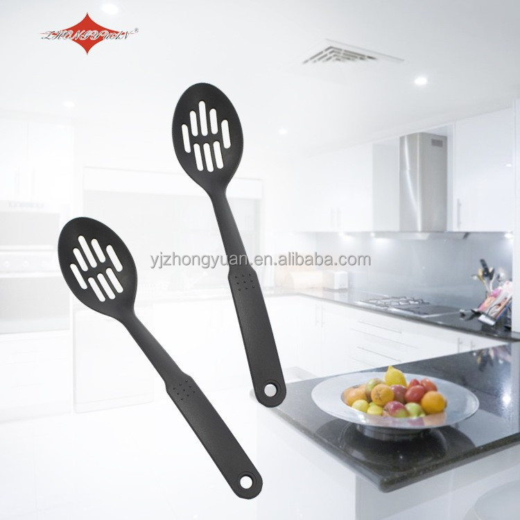 ZY-A11102 Good grip black nylon slotted spoon for plastic kitchenware products