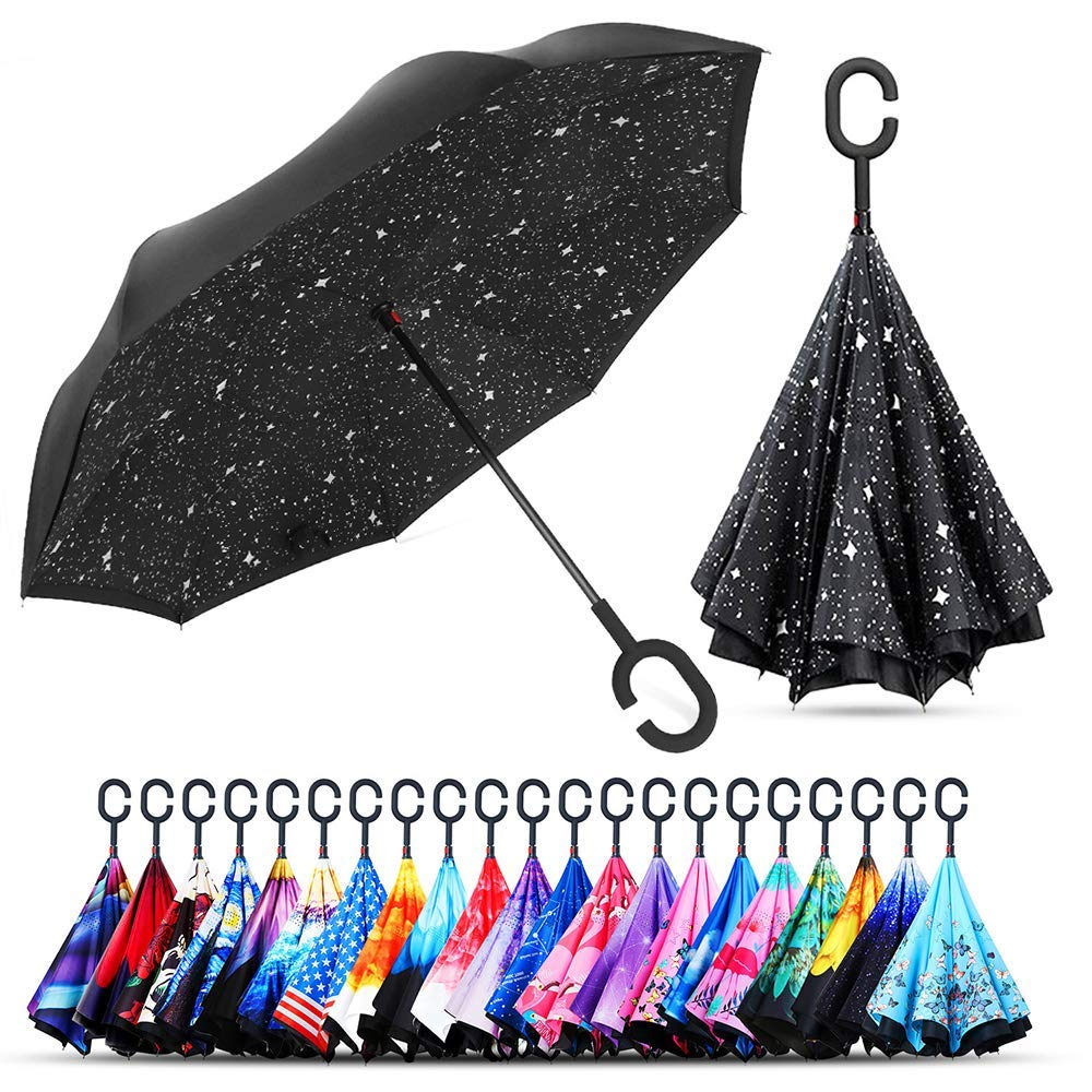 Windproof Double Layer Inverted ร่ม Self Stand ป้องกันฝนตกรถยนต์ร่ม Reverse