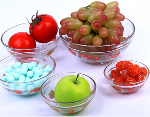5pcs clear glass salad fruit dessert storage mixing bowl set with pp lid (200/400/570/980/1350 ML)
