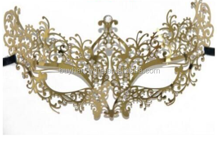 Halloween Women's Metal green rhinestone party mask,Sexy Charming Metal Masquerade Party Mask With crystal