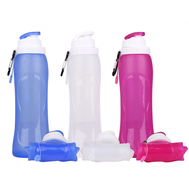 Outdoor FDA Foldable BPA Free Silicone Sports Drink Water Bottle Closer