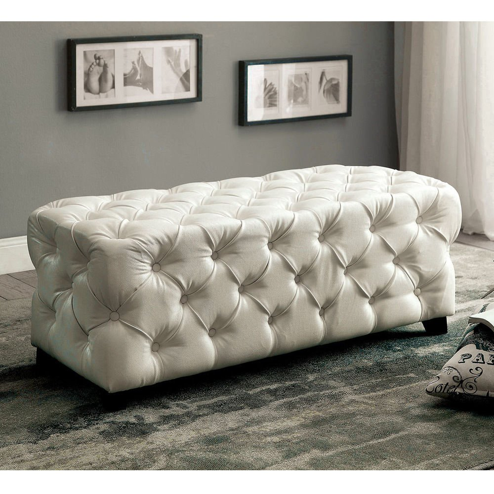 1PerfectChoice Emelda Accent Rectangular Ottoman Button Tufted Bonded Leather Match White