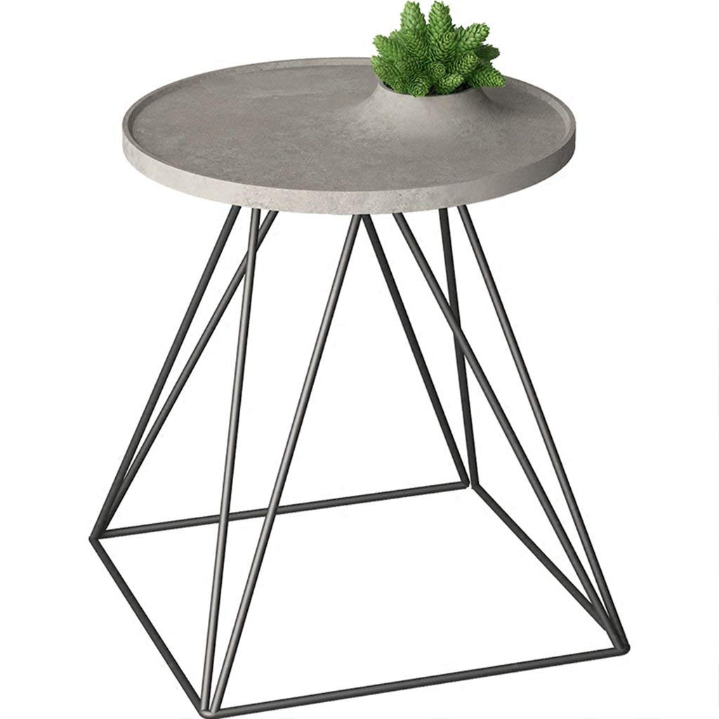 CSQ Grey Cement Small Coffee Table/Plant Stand, Desktop with Flower Pot Hole Living Room Bedroom Study Balcony Outdoor 4046CM (Size : 4046CM)