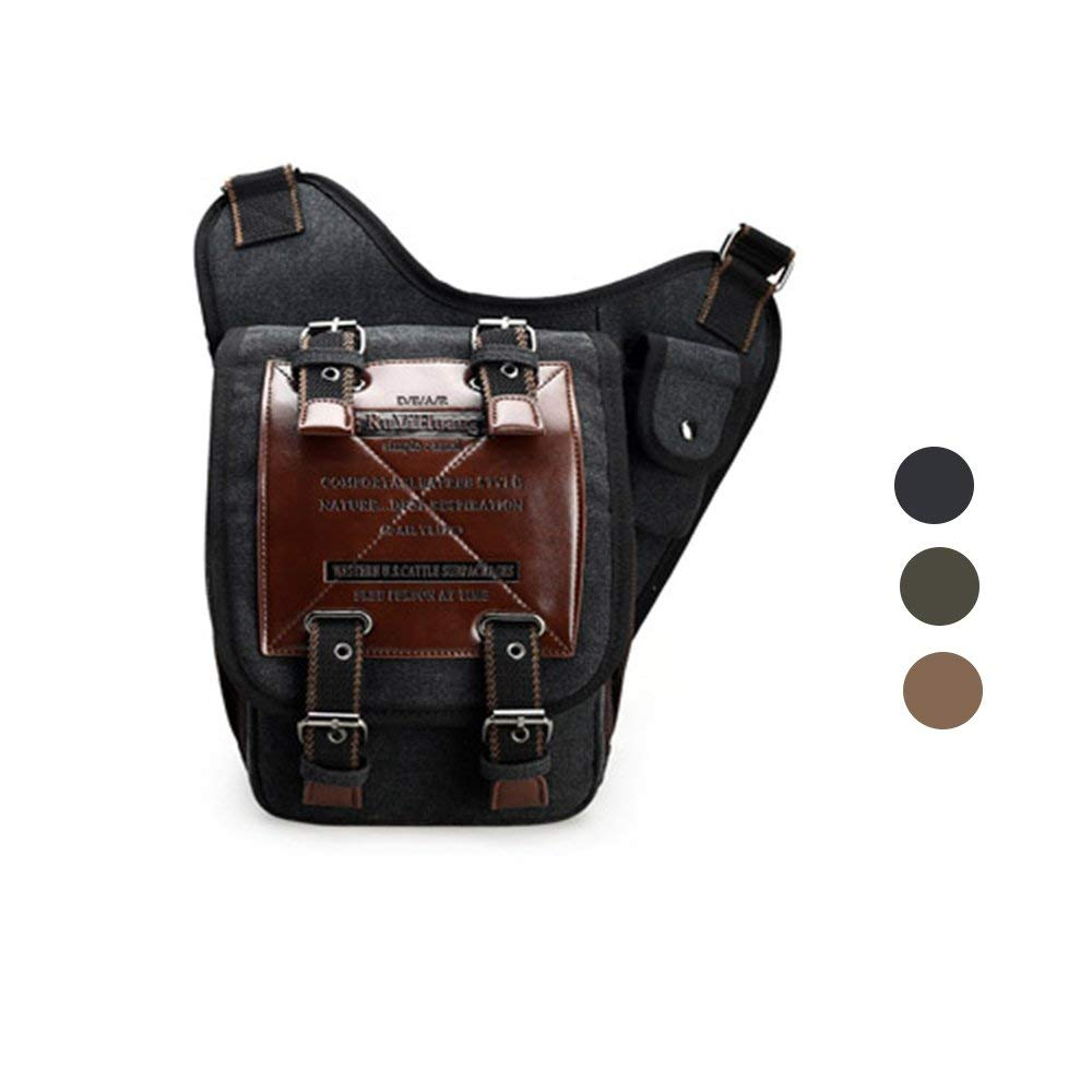 29d8c8248db1 Get Quotations · Chikencall Mens Boys Vintage Canvas Bags Retro Casual  Shoulder Bag Leather Single Shoulder Cross Body Bag
