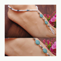 Women Anklet Toe Ring Ankle Bracelet Barefoot Sandals Elastic Beach Foot Jewelry