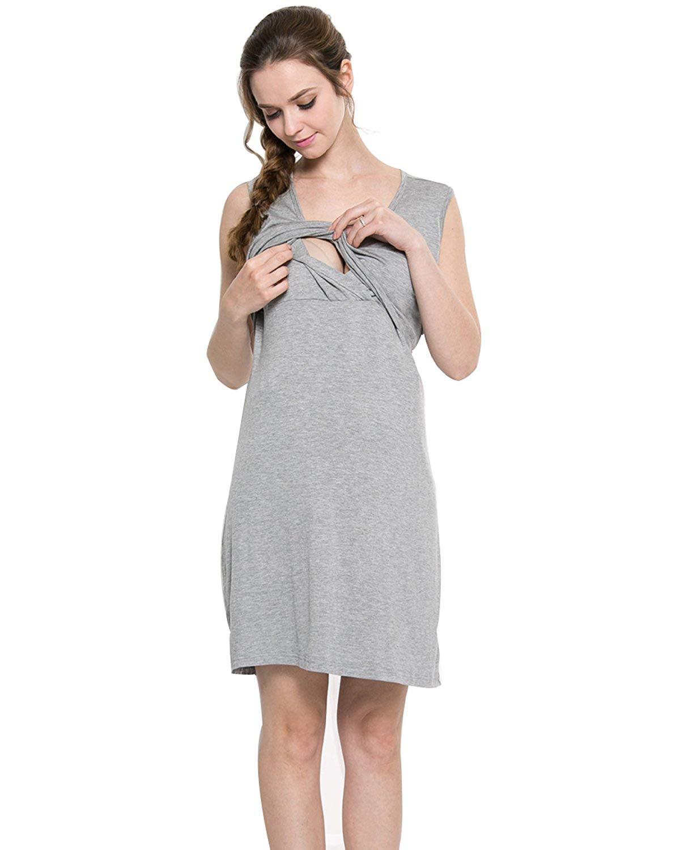 6e94bb2f85604 Get Quotations · Funfreeyer Nursing Gown Maternity Dress Breastfeeding Sleepwear  Pajamas Sleeveless Nightgown Pregnancy Outfit Robe
