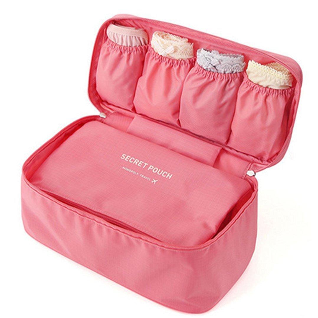 Koocun Portable Travel Drawer Dividers Underwear Storage Bag Bra Closet Organizers Pink