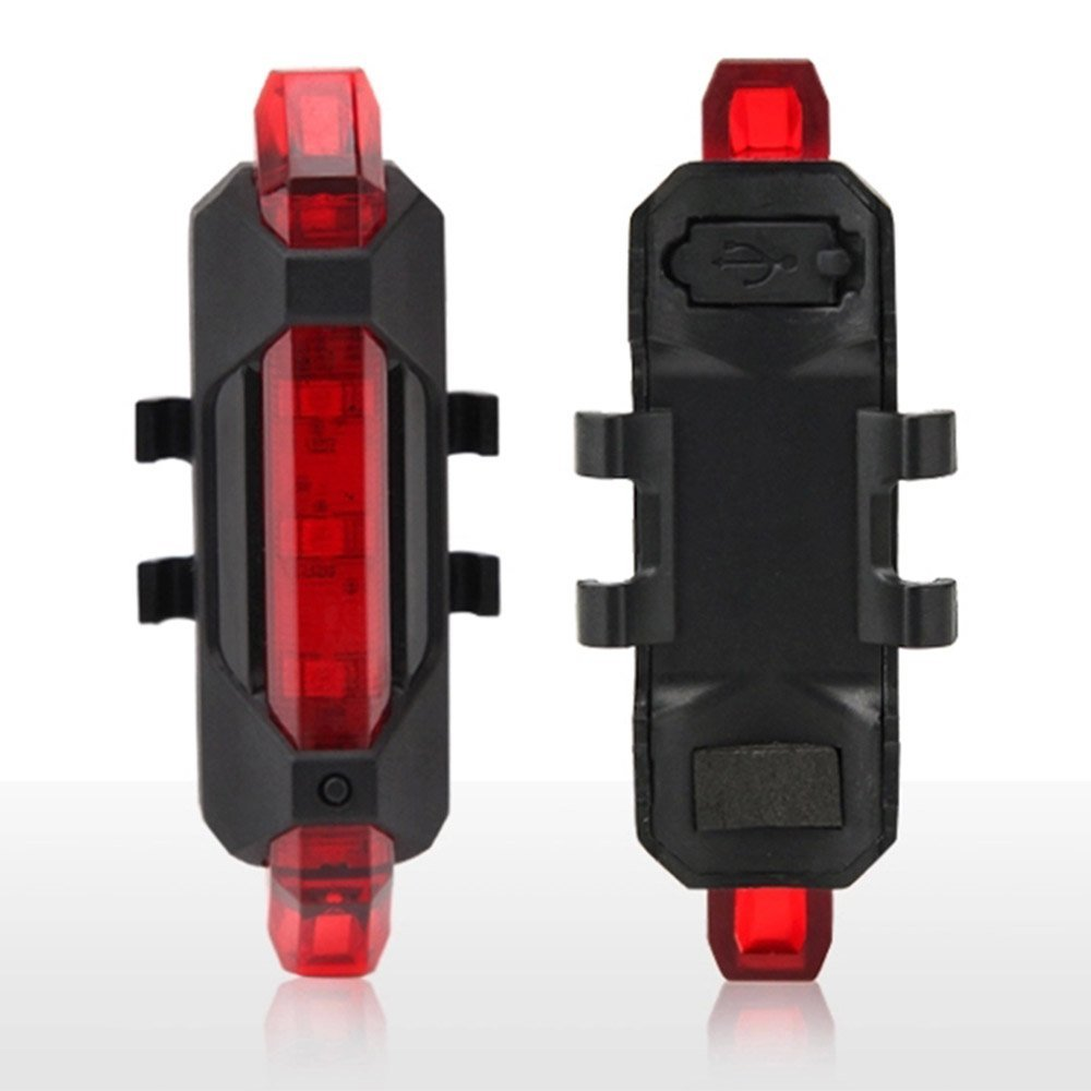 Bike Lights, Novpeak Waterproof USB Rechargeable Bright Bicycle 5-LED 4 Mode Red Front Tail Warning Light Bike Cycling Safety Rear Flashing Alarm Lamp