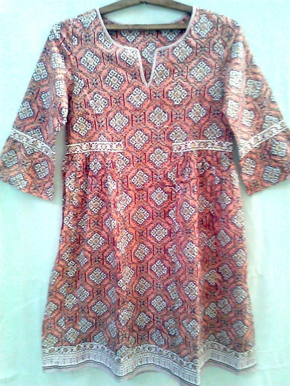 Coral Salmon & Maroon Jali style Anokhi Hand block print Indian cotton Boho chic Tunic dress