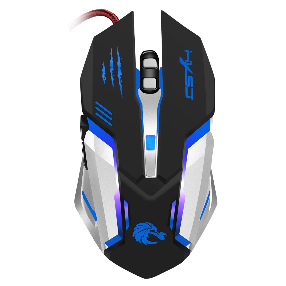 HXSJ Professional Wired Gaming Mouse 5600DPI Adjustable 6 Buttons Cable USB  LED Optical Gamer Mouse For PC Computer Laptop Mice, View S100, XHSJ